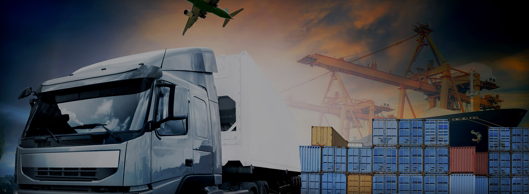 Container Truck, Ship In Port, And Freight Cargo Plane In Transport