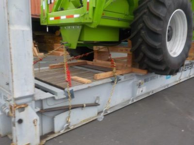 Close up of Tied down Corn Harvester